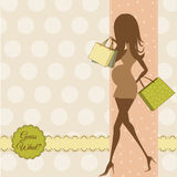 Baby announcement card with beautiful pregnant woman Royalty Free Stock Photo
