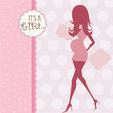 Baby announcement card with beautiful pregnant woman Royalty Free Stock Images