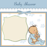 Baby announcement card with  boy. Baby announcement card with little boy Stock Photos