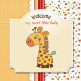 Baby announcement card with giraffe Stock Photos