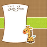 Baby announcement card with giraffe Royalty Free Stock Photo