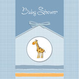 Baby announcement card with giraffe Royalty Free Stock Images