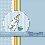 Baby announcement card with  pacifier. Baby announcement card with milk bottle and pacifier Stock Images