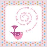 Baby announcement card with pink bird Stock Photography