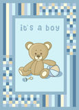 Baby announcement card with teddy bear. Baby announcement card teddy bear Stock Photos