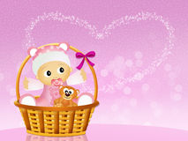 Baby announcement. Illustration of baby in the basket Stock Images