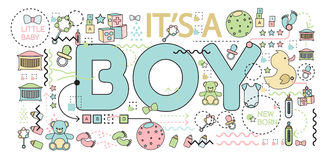 Baby announcement. Vector illustration. Baby announcement `it`s a boy` text. Baby shower concept Stock Photo