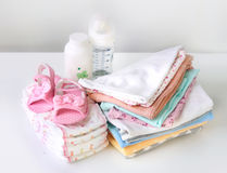 Baby apparel. Baby apparel on table.Infant clothes,staff Royalty Free Stock Photos