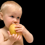 Baby with apple royalty free stock photos