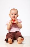 Baby with apple Stock Photo