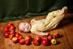 Baby and apple Royalty Free Stock Photos