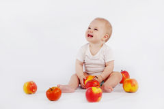 Baby with apples Royalty Free Stock Photos