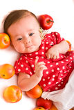Baby with apples Stock Photo