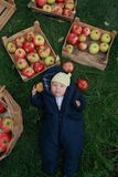 Baby and apples. Baby laying between boxes with apples Royalty Free Stock Photo