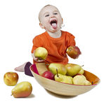Baby with apples Royalty Free Stock Images
