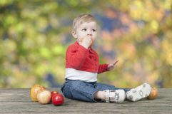 Baby with apples, seated on a old wooden table outdoors Royalty Free Stock Photo