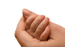 Baby arm in mother hand on white Stock Photos