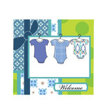 Baby arrival. Boy baby shower with blue color Stock Photography