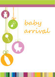Baby arrival. Colored Baby arrival announcement card Stock Photography