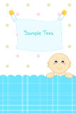 Baby arrival announcement. Illustration of baby arrival announcement card with baby peeping Royalty Free Stock Image