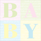 Baby Arrival Announcement background. Baby blocks spelling the word baby, ideal for new baby announcement card, scrapbooking, etc stock illustration