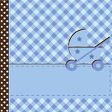 Baby arrival announcement for boy. With pram stock illustration