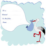 Baby arrival announcement for boy. With stork Stock Images