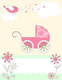 Baby arrival announcement card. An adorable pink baby carriage with polka dots and flowers Royalty Free Stock Image