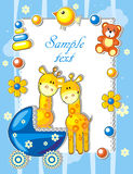 Baby arrival announcement card. With giraffes and toys Stock Image