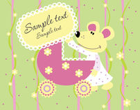 Baby arrival announcement card. Baby girl arrival announcement card Royalty Free Stock Photos