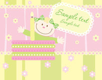 Baby arrival announcement card. Baby girl arrival announcement card Royalty Free Stock Photography