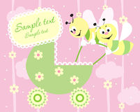 Baby arrival announcement card. Baby girl arrival announcement card Royalty Free Stock Image