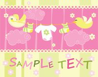 Baby arrival announcement card with birds royalty free stock images