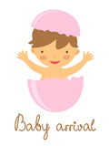 Baby arrival announcement card with hatching baby Royalty Free Stock Images