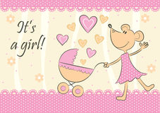 Baby arrival announcement card. Vector Royalty Free Stock Image