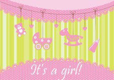 Baby arrival announcement card. Vector Stock Images