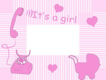Baby arrival card. In pink Stock Image