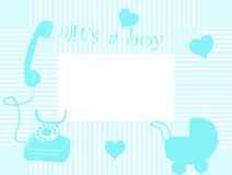 Baby arrival card. In blue vector illustration
