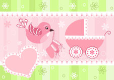 Baby arrival card. Vector illustration Royalty Free Stock Photos