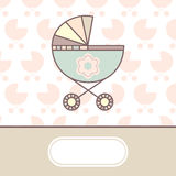 Baby arrival card. With cradle vector illustration