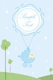 Baby arrival card. Illustration of baby arrival card with baby in pram and sample text stock illustration