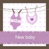Baby arrival card. With body and dickey Royalty Free Stock Images
