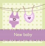 Baby arrival card. With body and dickey vector illustration