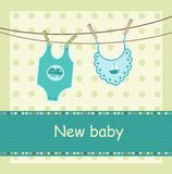 Baby arrival card. With body and dickey Stock Photo