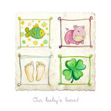 Baby arrival card. With cute abstract elements Royalty Free Stock Photography