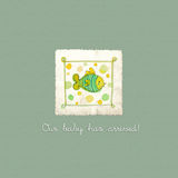 Baby arrival card. With cute abstract fish vector illustration
