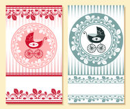 Baby arrival card. For boy and girl Royalty Free Stock Photos