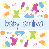 Baby arrival card. As background, decorations and designs card Royalty Free Stock Images