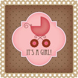 Baby arrival card. For girl Royalty Free Stock Photography