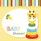 Baby arrival card. With pyramid . Vector illustration Royalty Free Stock Photos